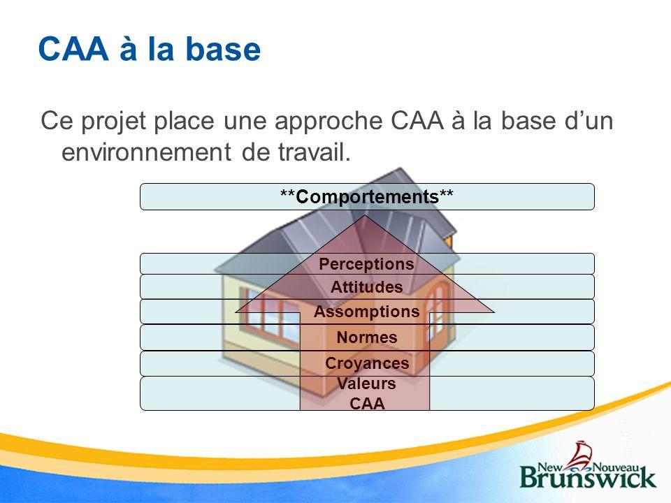 CAA à la base Ce projet place une approche CAA à la base d'un environnement de travail. **Comportements**