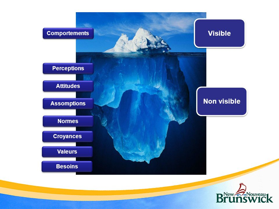 Visible Non visible Comportements Perceptions Attitudes Assomptions