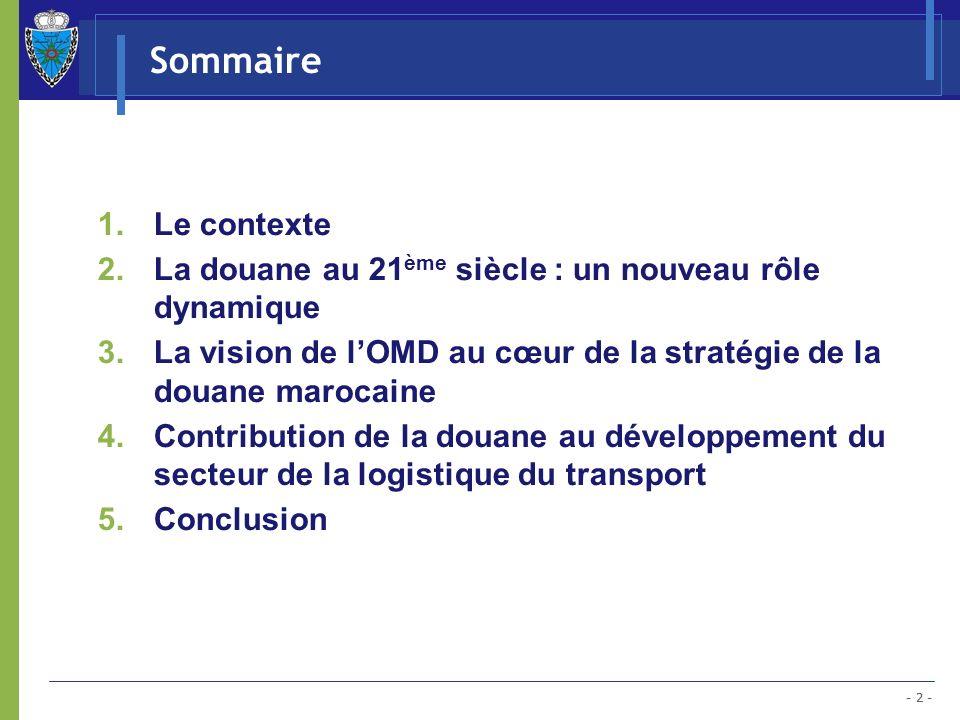Sommaire Le contexte. La douane au 21ème siècle : un nouveau rôle dynamique. La vision de l'OMD au cœur de la stratégie de la douane marocaine.