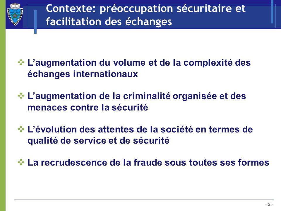 Contexte: préoccupation sécuritaire et facilitation des échanges