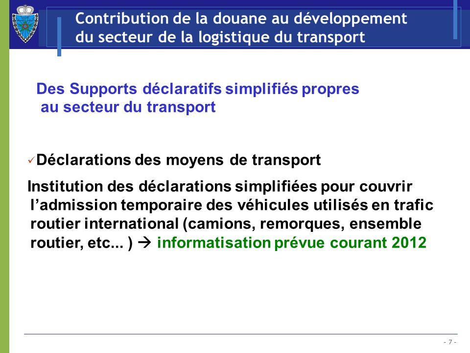 Des Supports déclaratifs simplifiés propres au secteur du transport