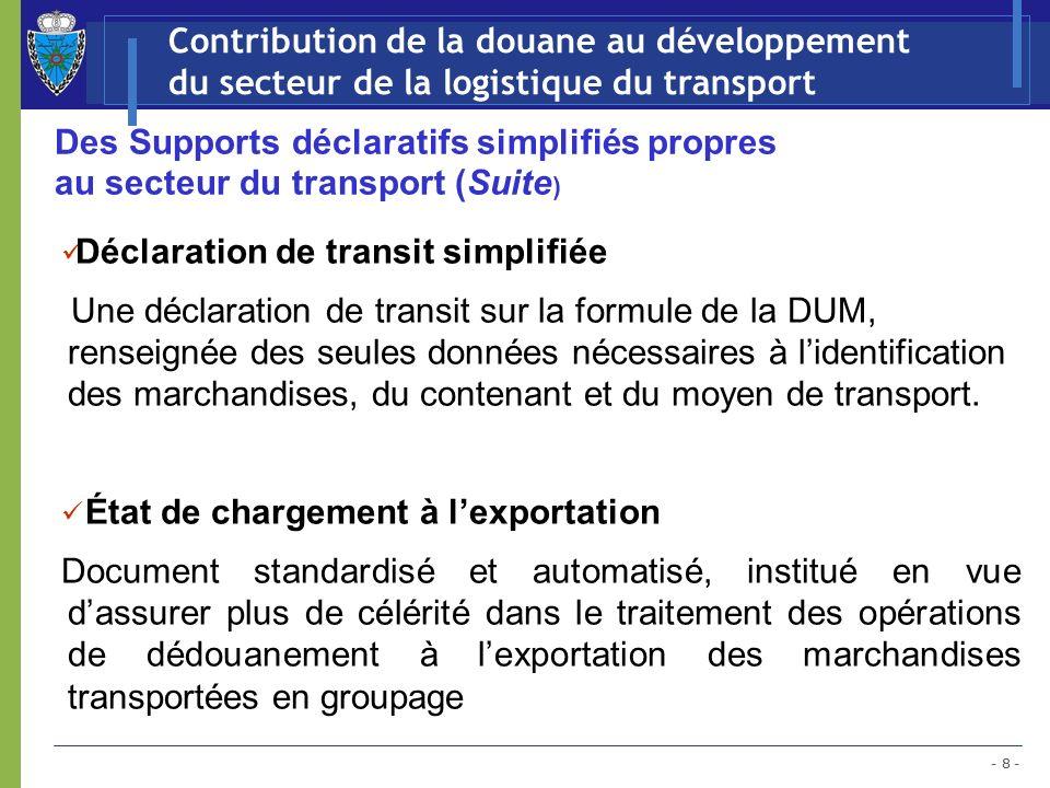 Contribution de la douane au développement du secteur de la logistique du transport