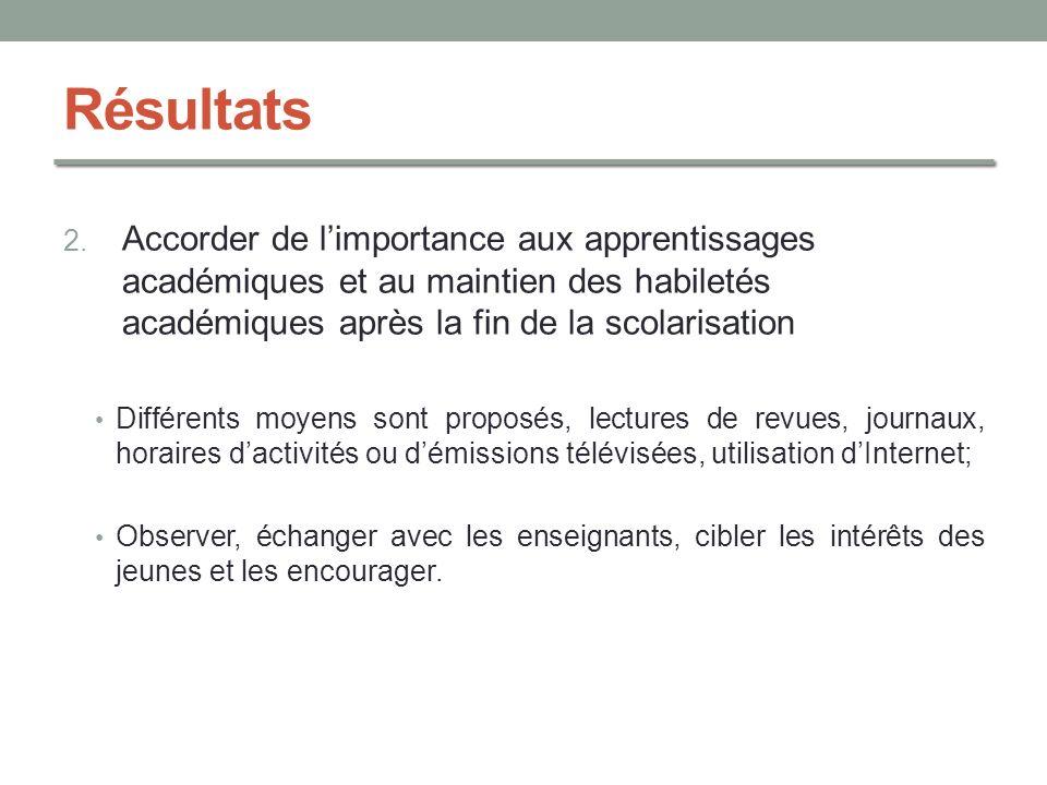 Résultats Accorder de l'importance aux apprentissages académiques et au maintien des habiletés académiques après la fin de la scolarisation.