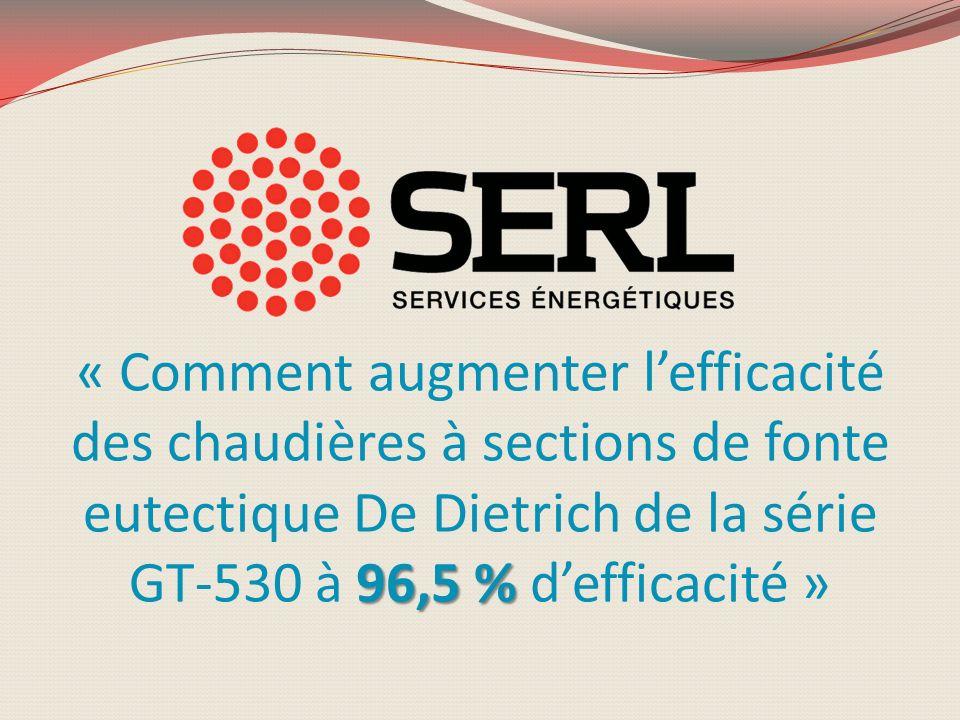 « Comment augmenter l'efficacité des chaudières à sections de fonte eutectique De Dietrich de la série GT-530 à 96,5 % d'efficacité »