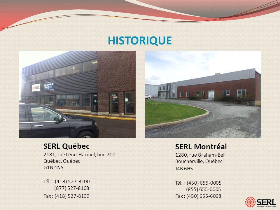 HISTORIQUE SERL Québec