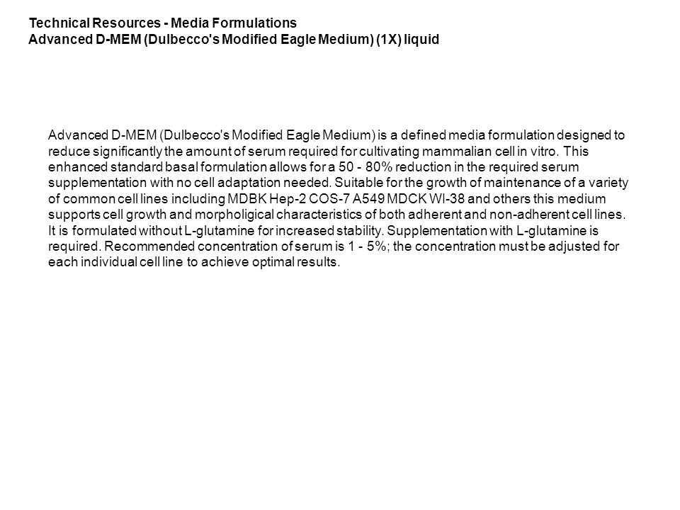 Technical Resources - Media Formulations