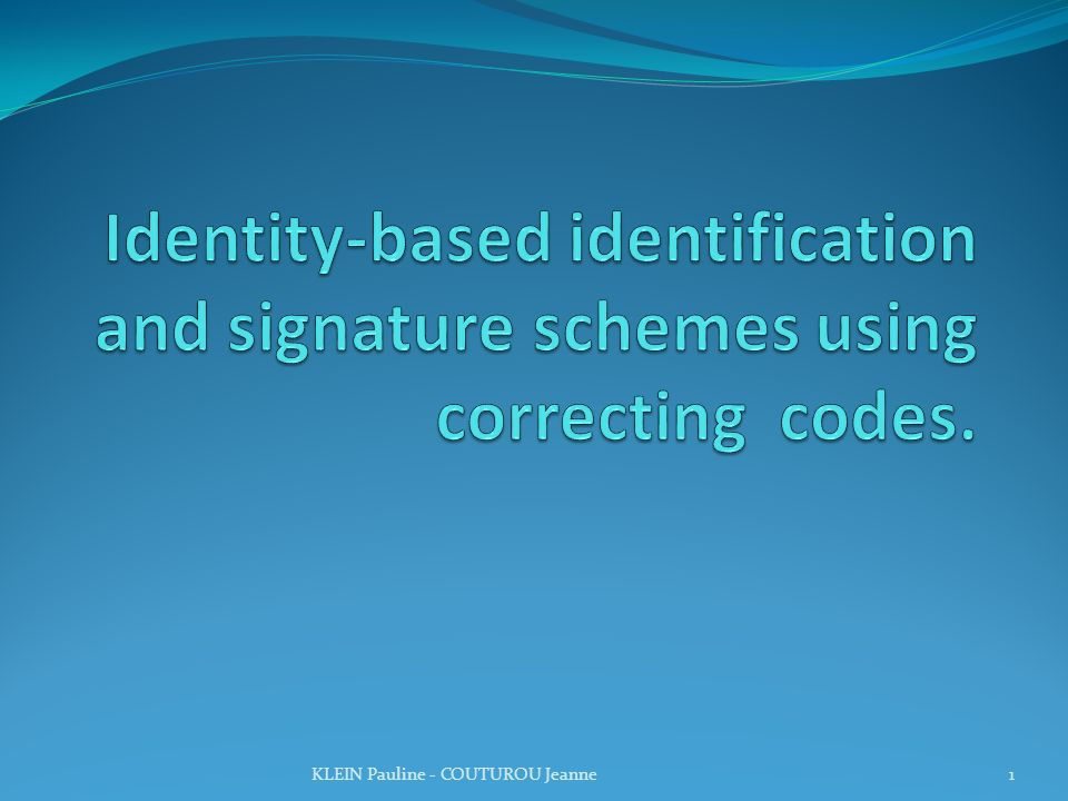 Identity-based identification and signature schemes using correcting codes.