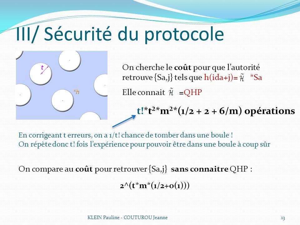 III/ Sécurité du protocole