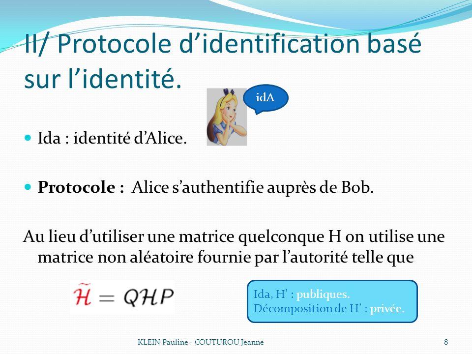 II/ Protocole d'identification basé sur l'identité.