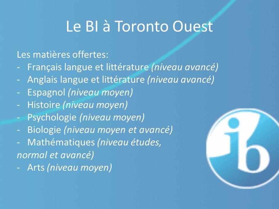 Le BI à Toronto Ouest Les matières offertes: