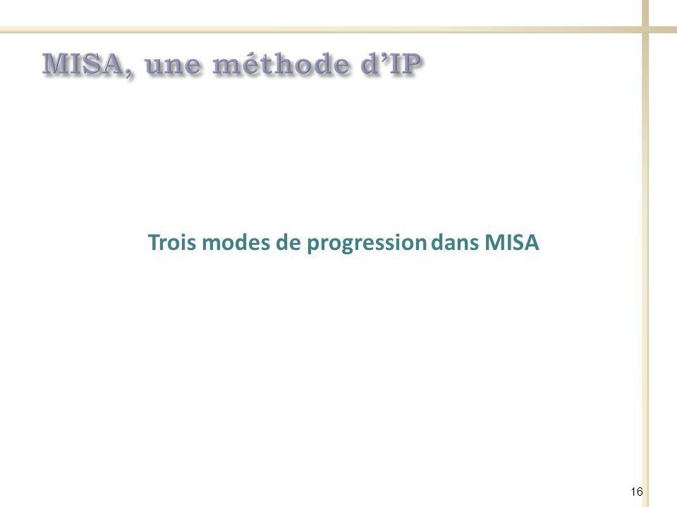 Trois modes de progression dans MISA