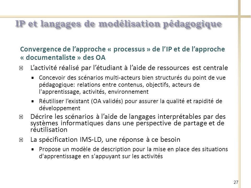 IP et langages de modélisation pédagogique
