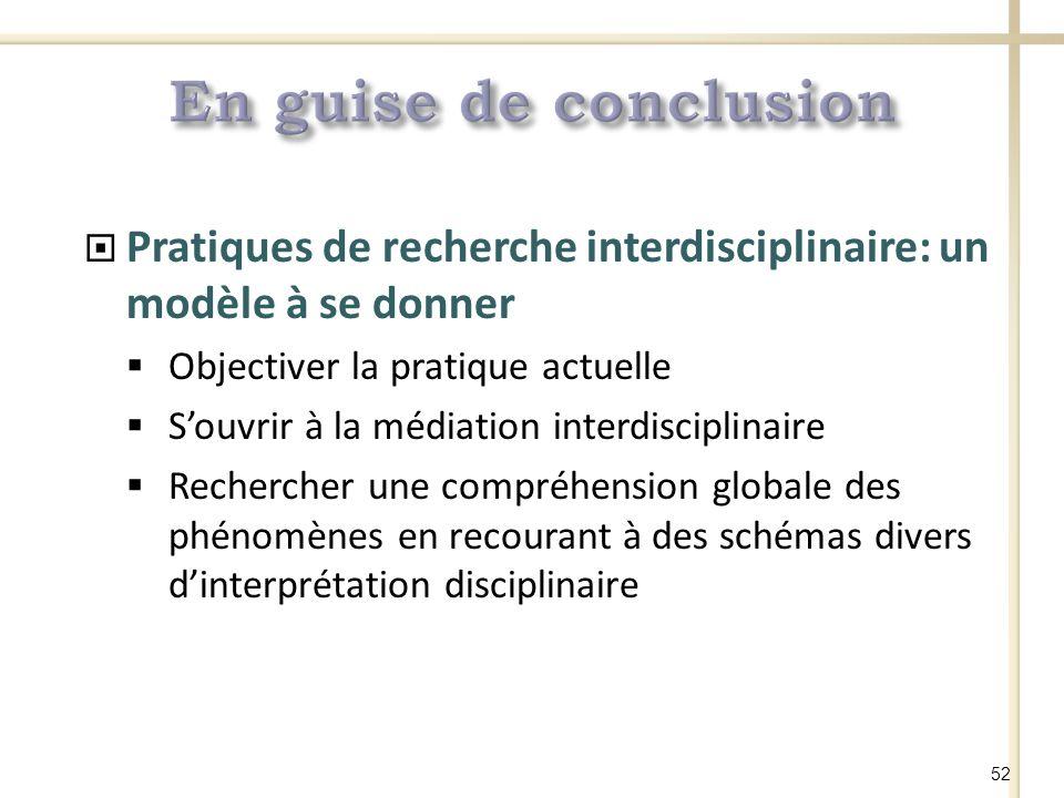 En guise de conclusion Pratiques de recherche interdisciplinaire: un modèle à se donner. Objectiver la pratique actuelle.