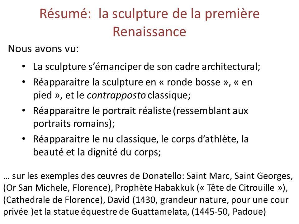 Résumé: la sculpture de la première Renaissance