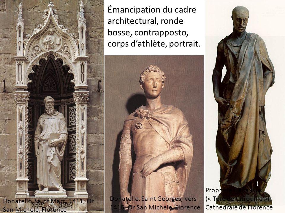 Émancipation du cadre architectural, ronde bosse, contrapposto, corps d'athlète, portrait.