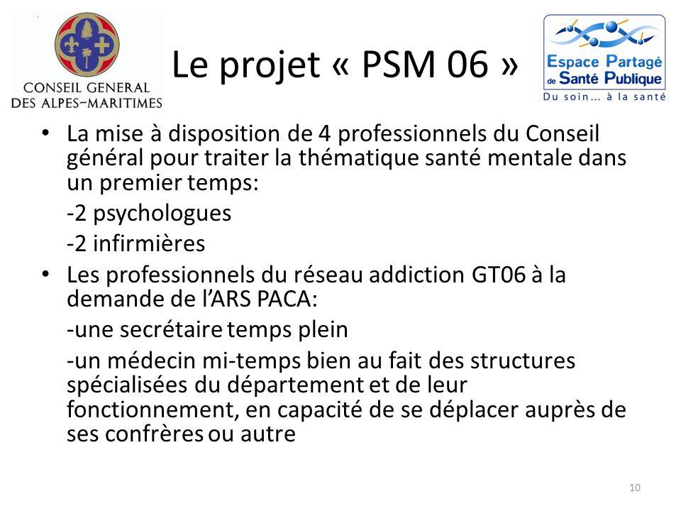 Le projet « PSM 06 » La mise à disposition de 4 professionnels du Conseil général pour traiter la thématique santé mentale dans un premier temps: