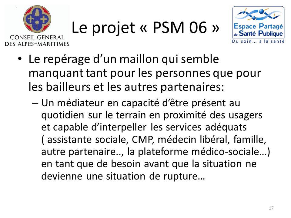 Le projet « PSM 06 » Le repérage d'un maillon qui semble manquant tant pour les personnes que pour les bailleurs et les autres partenaires: