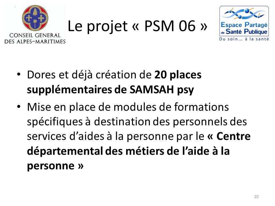 Le projet « PSM 06 » Dores et déjà création de 20 places supplémentaires de SAMSAH psy.