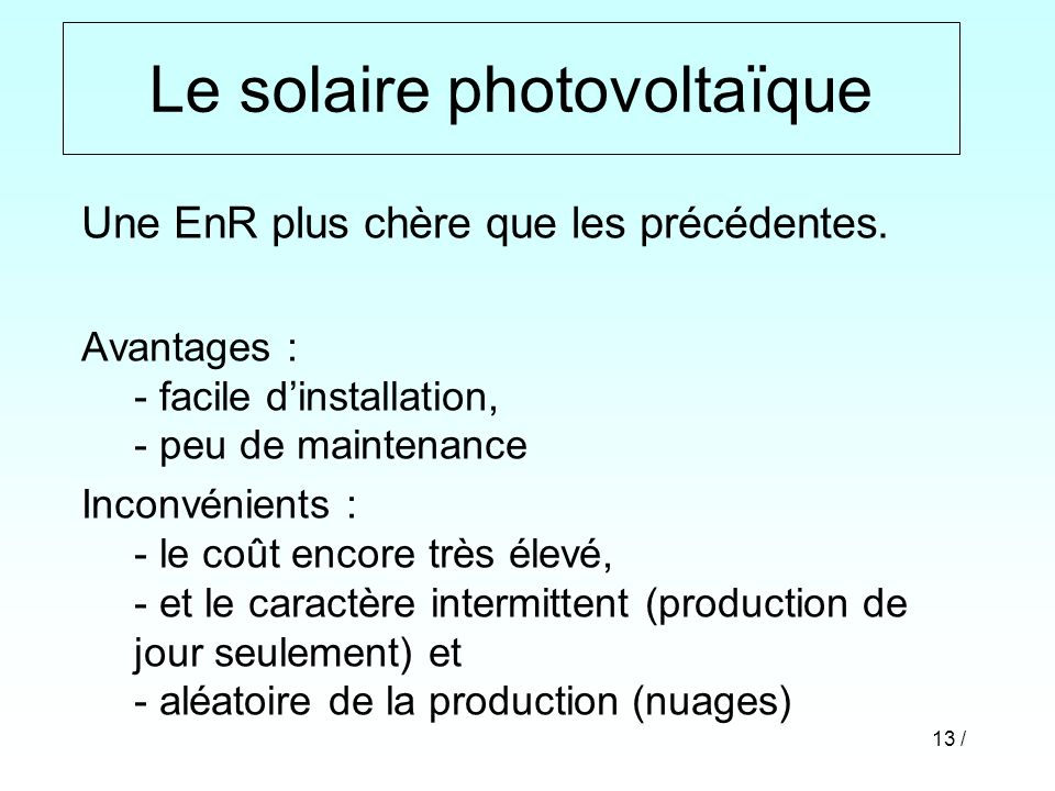Le solaire photovoltaïque