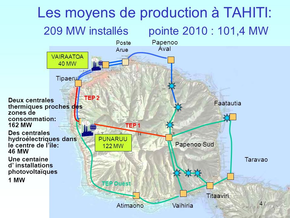 Les moyens de production à TAHITI: 209 MW installés pointe 2010 : 101,4 MW