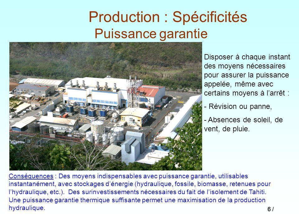 Production : Spécificités Puissance garantie