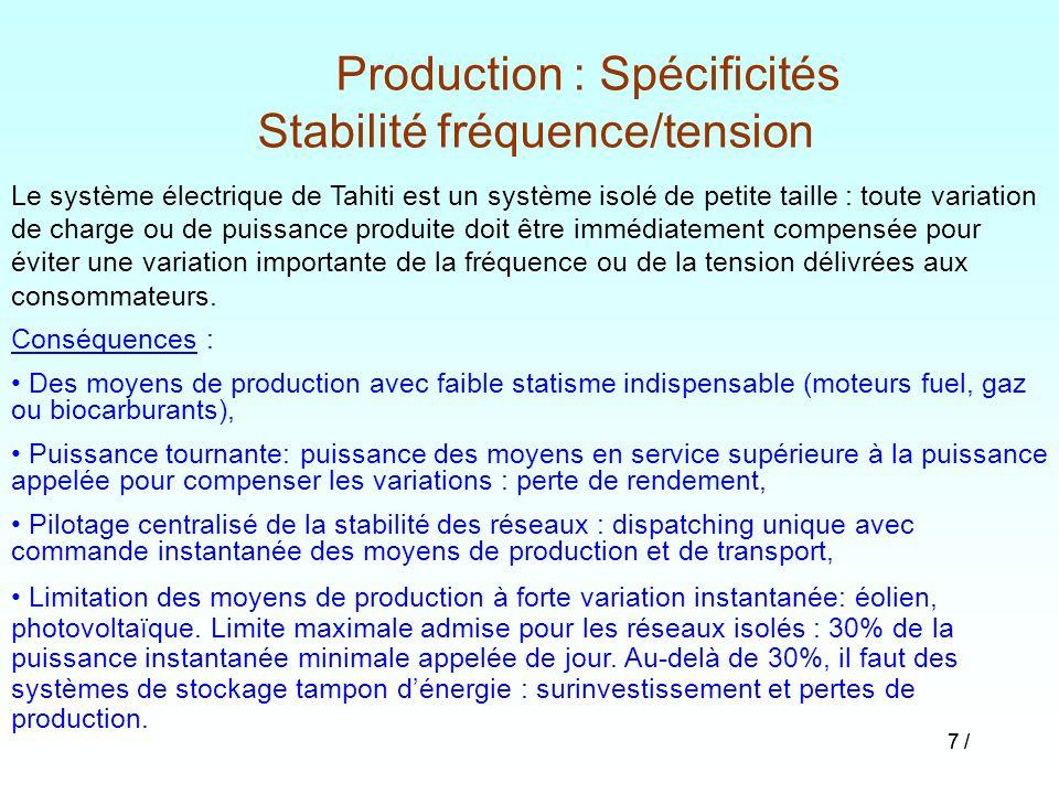 Production : Spécificités Stabilité fréquence/tension