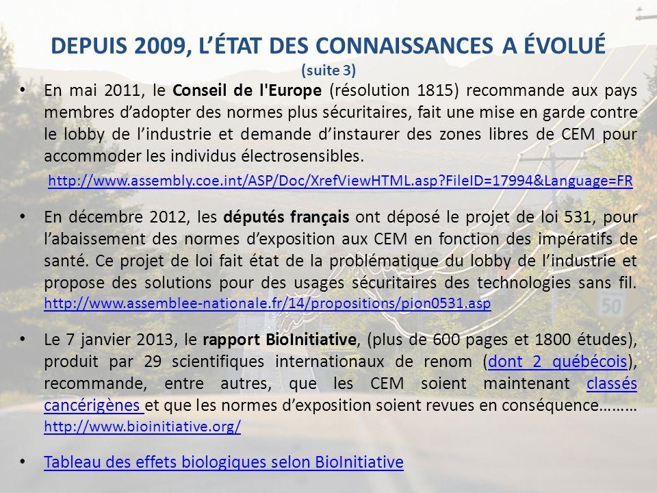 DEPUIS 2009, L'ÉTAT DES CONNAISSANCES A ÉVOLUÉ (suite 3)