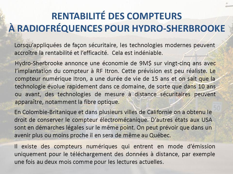 RENTABILITÉ DES COMPTEURS À RADIOFRÉQUENCES POUR HYDRO-SHERBROOKE