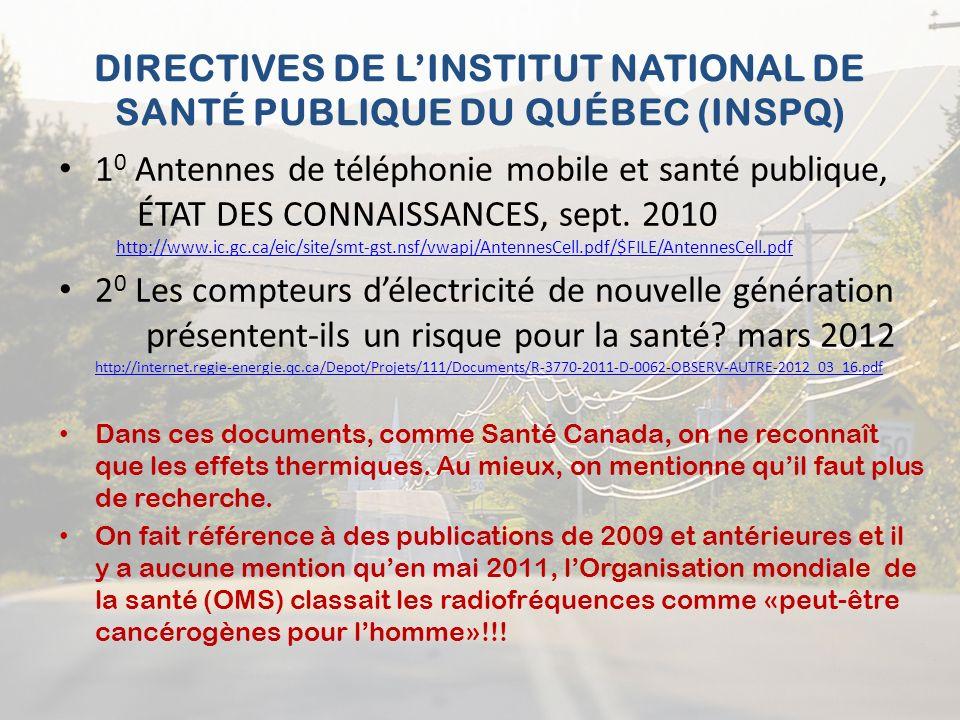 DIRECTIVES DE L'INSTITUT NATIONAL DE SANTÉ PUBLIQUE DU QUÉBEC (INSPQ)