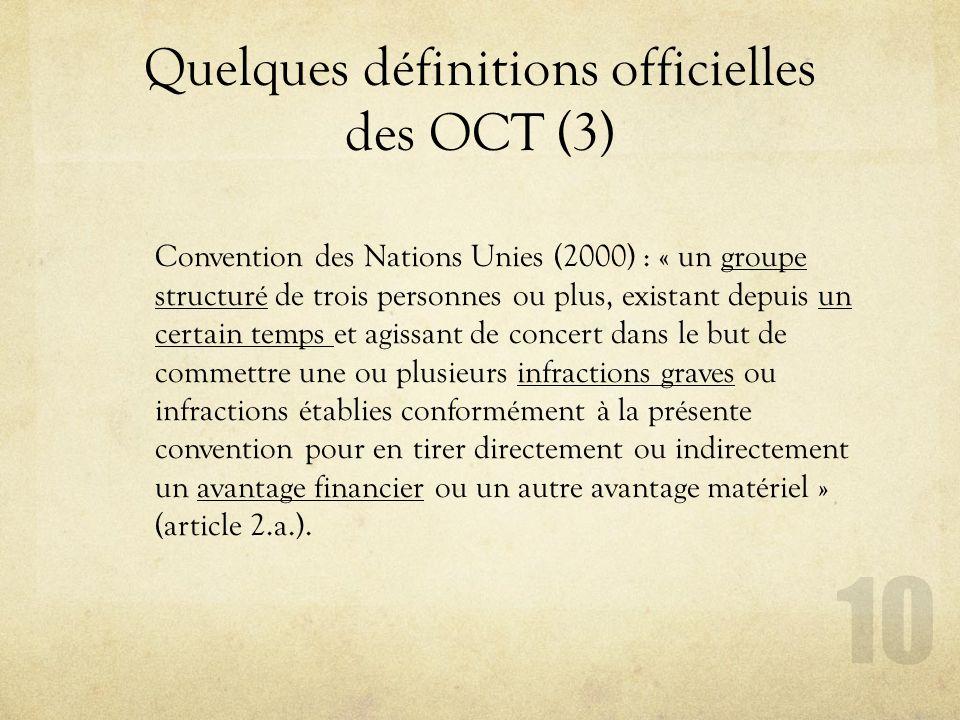 Quelques définitions officielles des OCT (3)