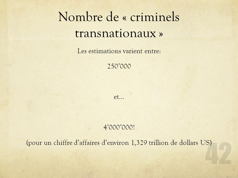 Nombre de « criminels transnationaux »