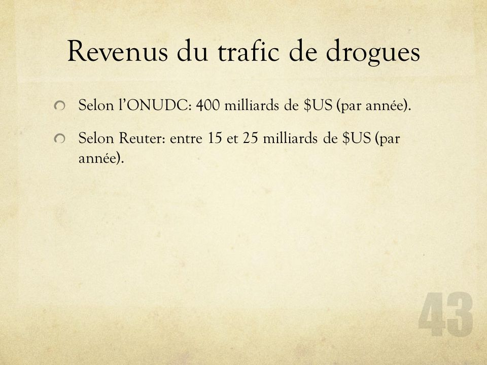 Revenus du trafic de drogues