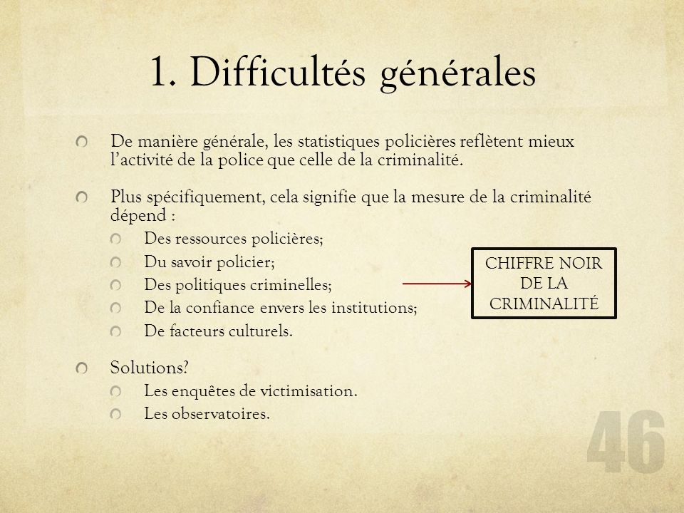 1. Difficultés générales
