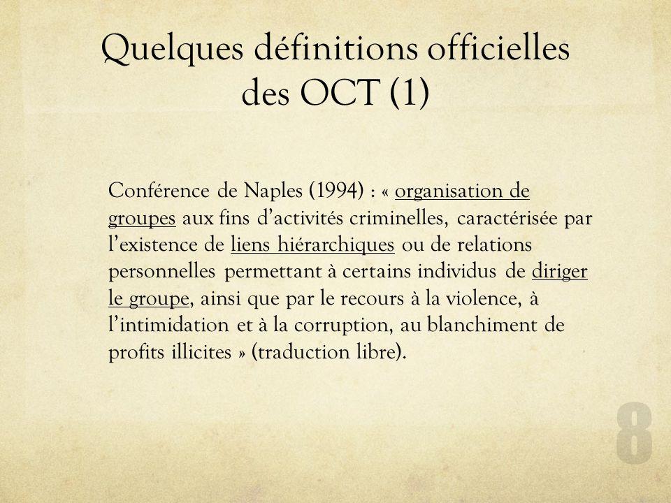 Quelques définitions officielles des OCT (1)