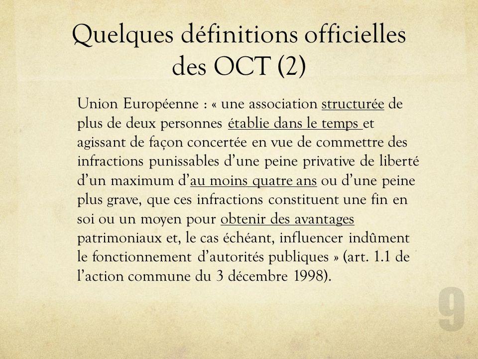 Quelques définitions officielles des OCT (2)