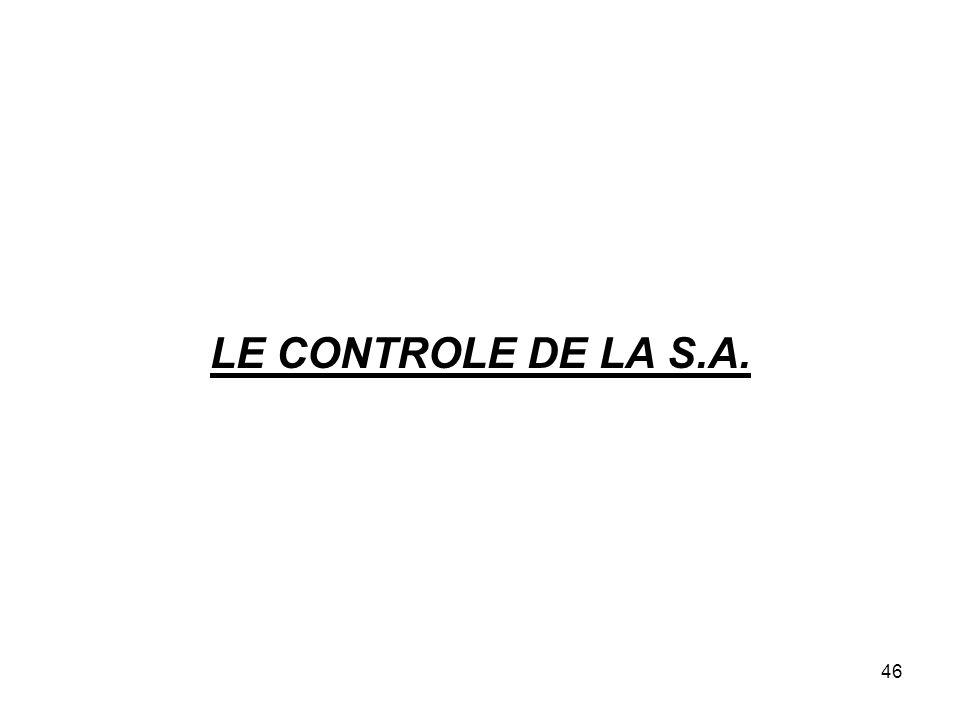 LE CONTROLE DE LA S.A.
