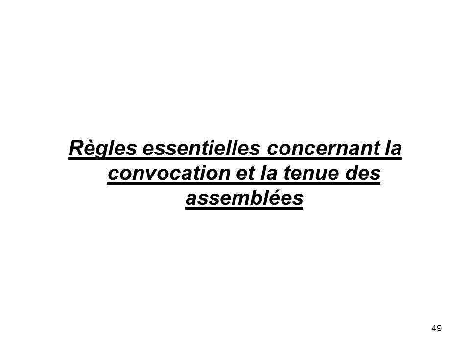Règles essentielles concernant la convocation et la tenue des assemblées