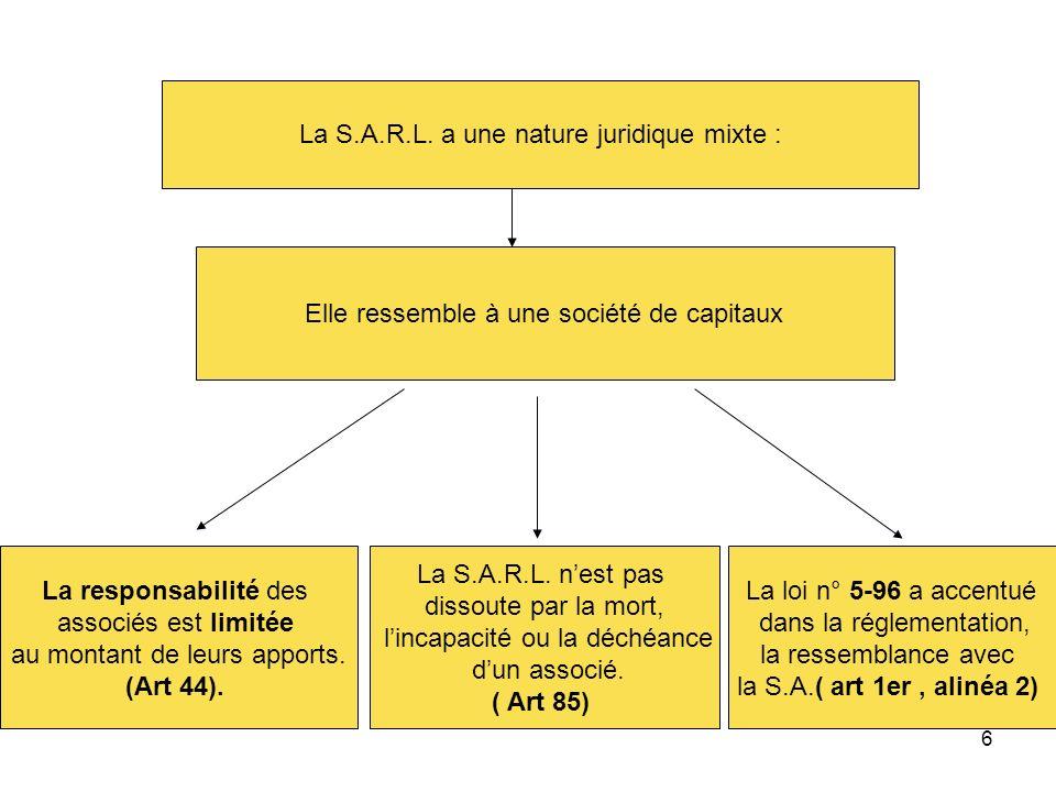 La S.A.R.L. a une nature juridique mixte :
