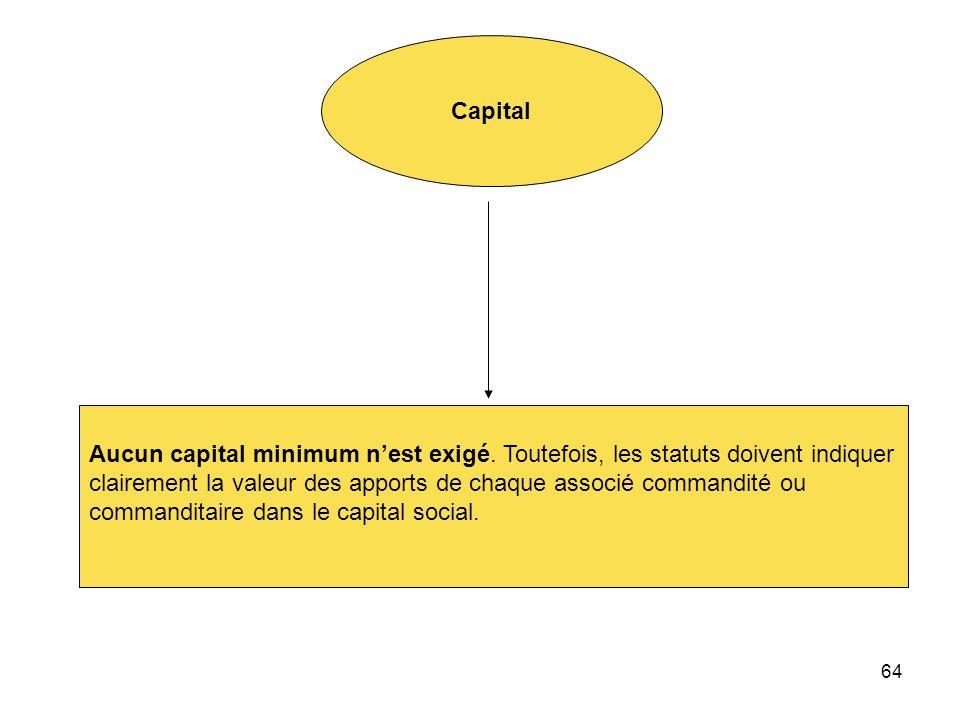 Capital Aucun capital minimum n'est exigé. Toutefois, les statuts doivent indiquer. clairement la valeur des apports de chaque associé commandité ou.