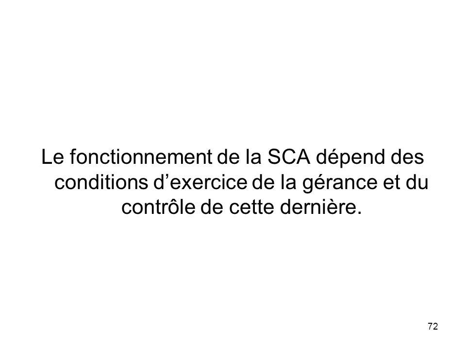 Le fonctionnement de la SCA dépend des conditions d'exercice de la gérance et du contrôle de cette dernière.