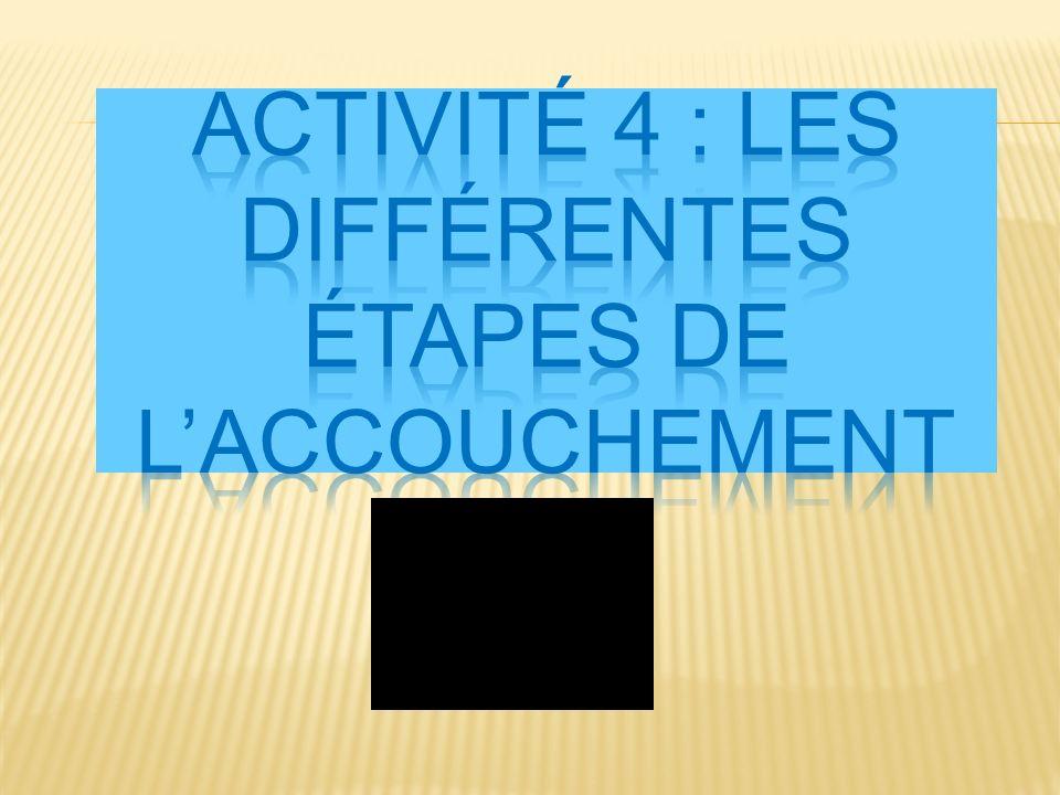 Activité 4 : Les différentes étapes de l'accouchement