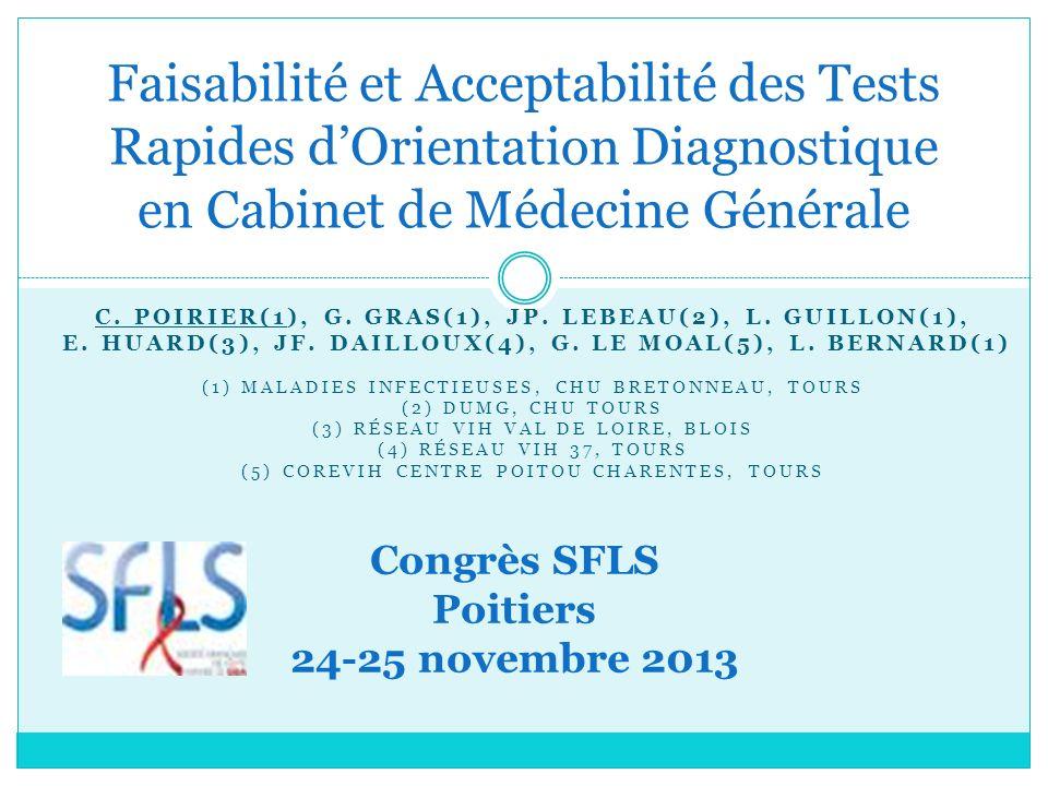 Faisabilité et Acceptabilité des Tests Rapides d'Orientation Diagnostique en Cabinet de Médecine Générale