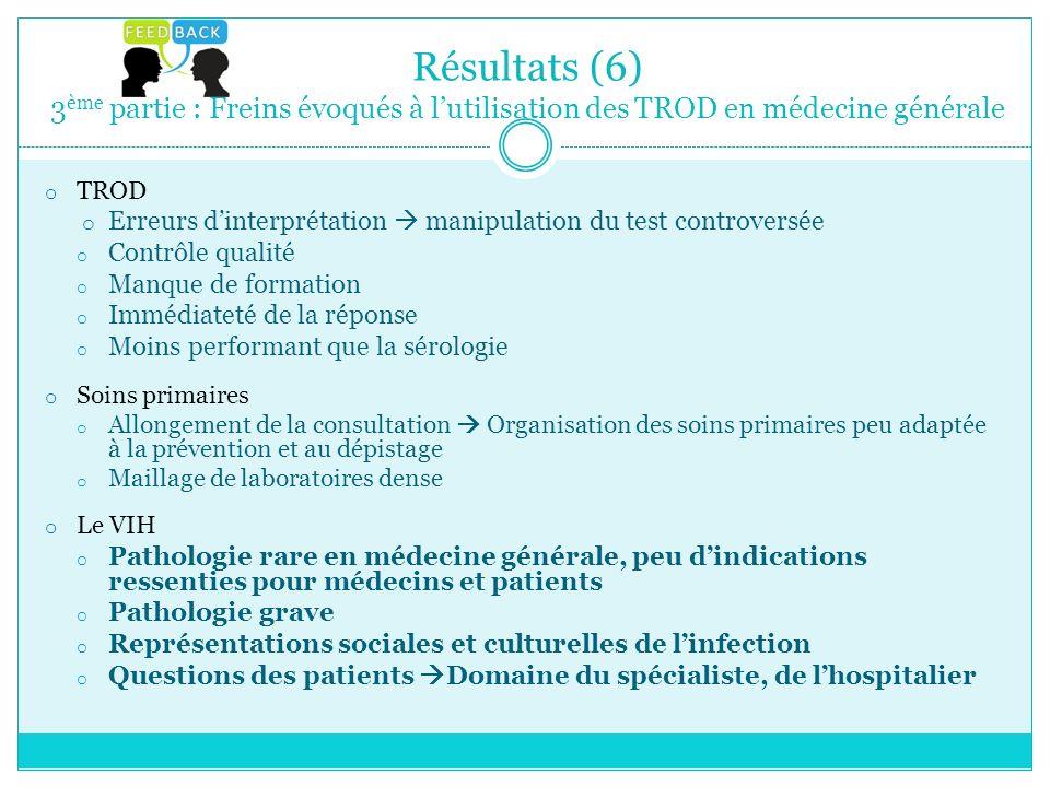 Résultats (6) 3ème partie : Freins évoqués à l'utilisation des TROD en médecine générale