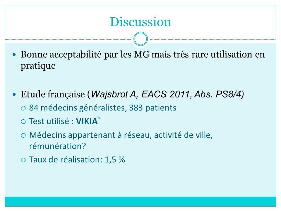 Discussion Bonne acceptabilité par les MG mais très rare utilisation en pratique. Etude française (Wajsbrot A, EACS 2011, Abs. PS8/4)