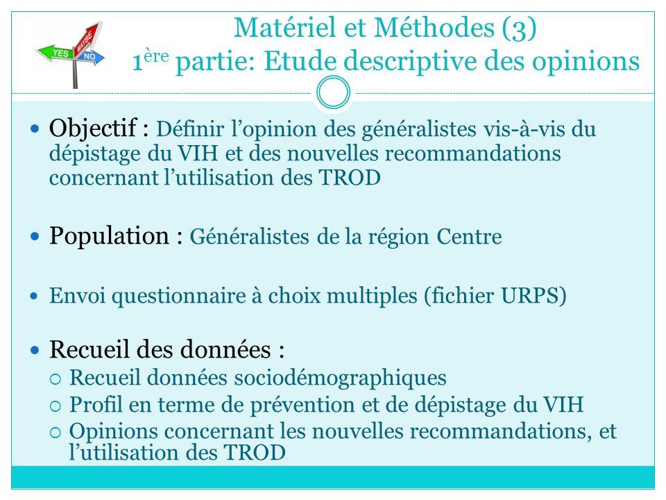 Matériel et Méthodes (3) 1ère partie: Etude descriptive des opinions