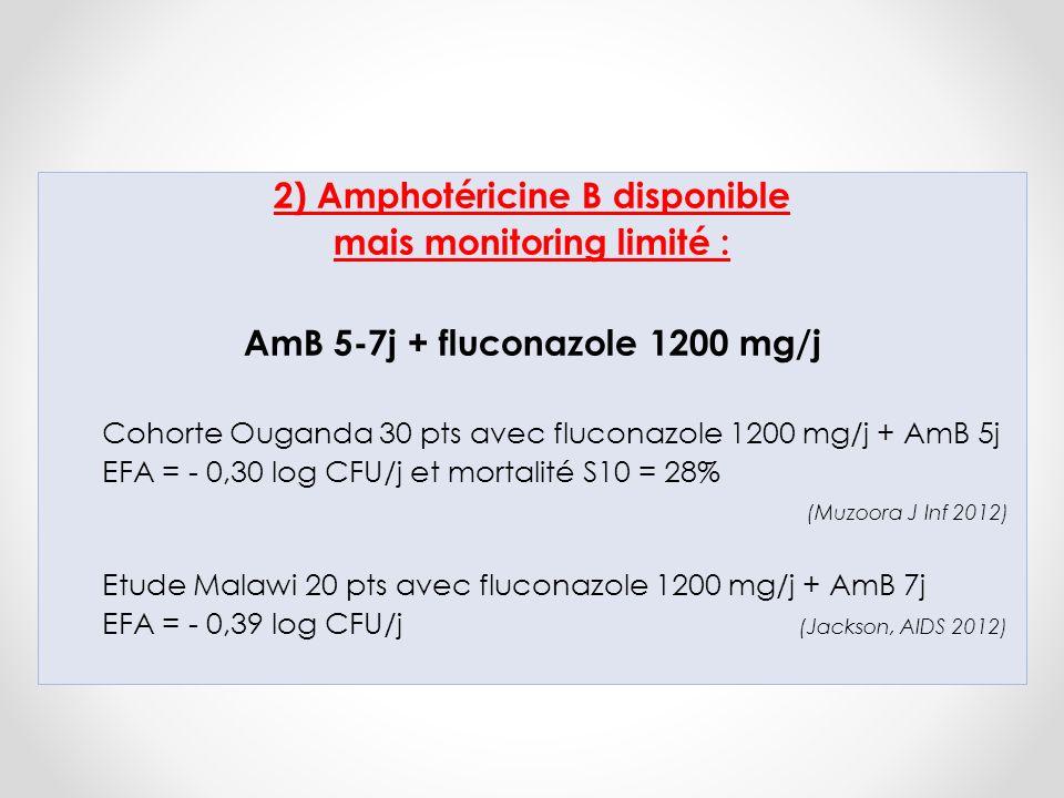2) Amphotéricine B disponible mais monitoring limité :