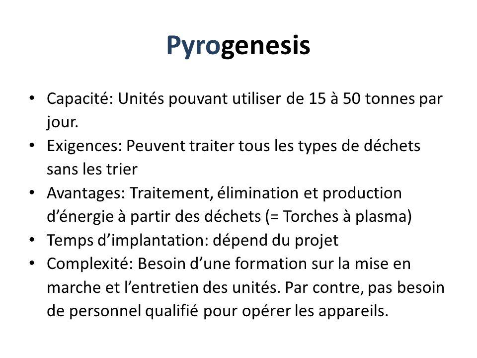 Pyrogenesis Capacité: Unités pouvant utiliser de 15 à 50 tonnes par jour. Exigences: Peuvent traiter tous les types de déchets sans les trier.
