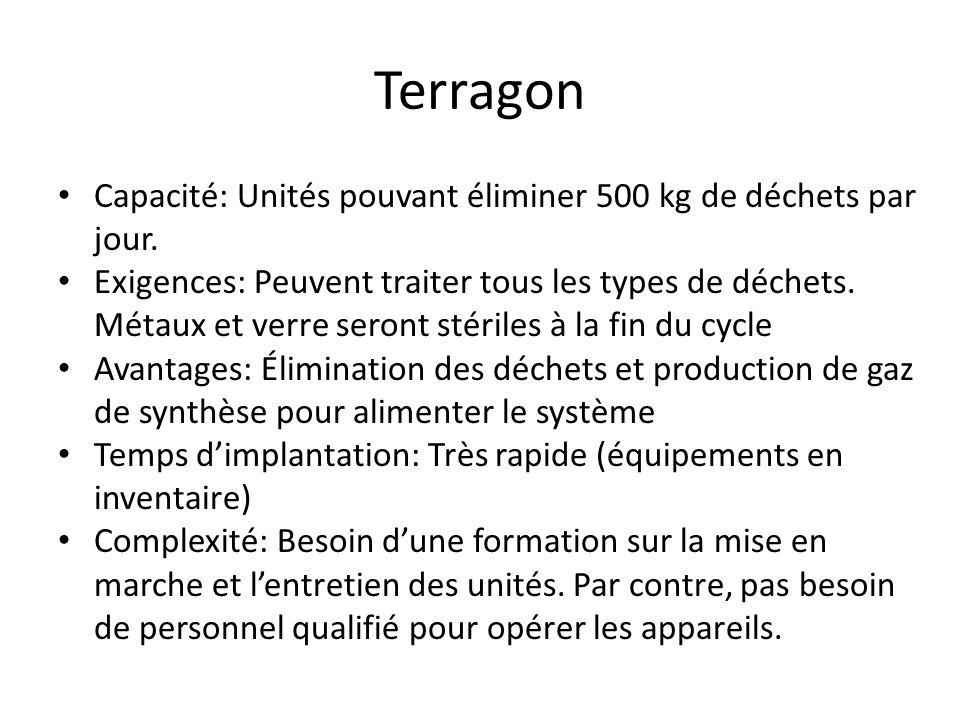 Terragon Capacité: Unités pouvant éliminer 500 kg de déchets par jour.