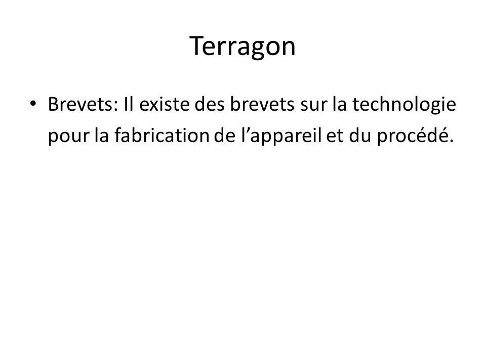 Terragon Brevets: Il existe des brevets sur la technologie pour la fabrication de l'appareil et du procédé.