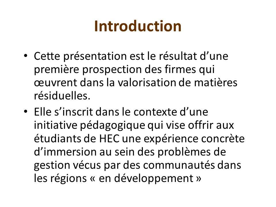 Introduction Cette présentation est le résultat d'une première prospection des firmes qui œuvrent dans la valorisation de matières résiduelles.